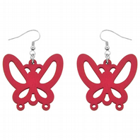 Hot pink large butterfly drop earrings (Code 0895)